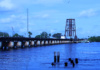 The Train Bridge Over The St. Lucie River, Downtown Stuart, Florida, Is A Blue Vision At Dusk.